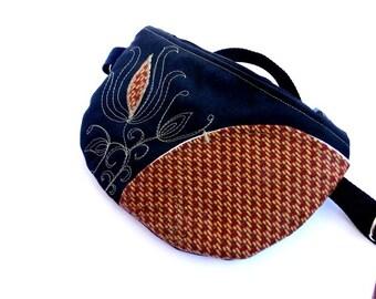 Belt bag/belt pack/hip bag/ fanny pack/ waist bag/ waist purse/woman bag/Boho bag/ Black  autumn lotus bag