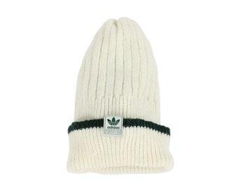 Vintage 90s ADIDAS Knit Ski Hat Beenie Skull Cap Ivory Green Trefoil Men's Fall Winter Fashion Accessories 1990s