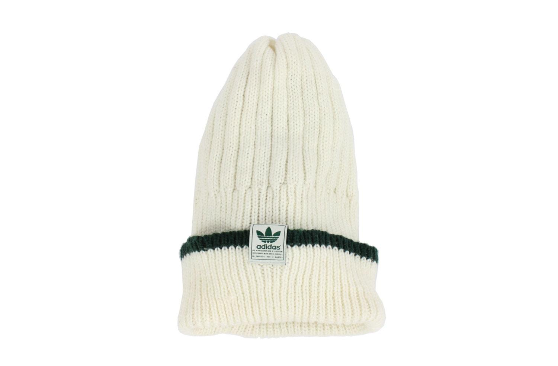 90s ADIDAS Knit Ski Hat Beenie Skull Cap Ivory Green ...