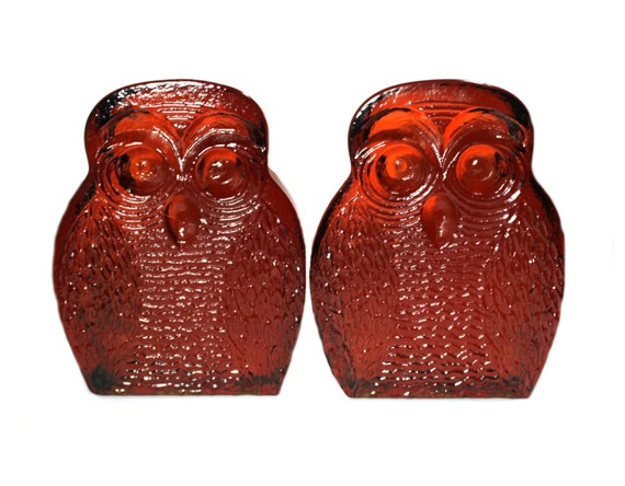 Blenko owl glass bookends- Rich Amber. very heavy. MCM
