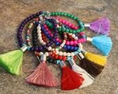 SALE, boho bracelet, Tassel Bracelet, Yoga Jewelry, Beaded Bracelet, Tassel Jewelry
