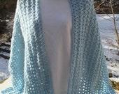 Crochet Stole, Shawl, Wrap  - Pale Blue