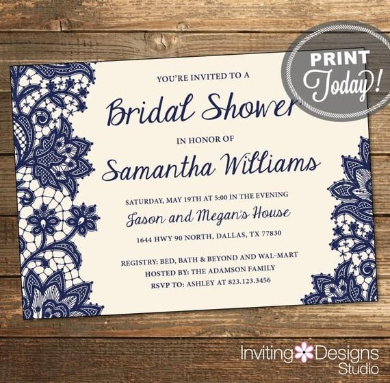 Wedding Shower Invitation - Navy Lace