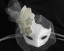 Bridal Wedding Mask White-Satin Bridal Masquerade Mask-Handmade Mask With Pearls Silver Glass Beads
