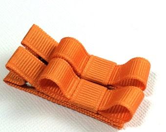 Baby Hair Clips -Pumpkin Pie Orange- Tuxedo Bow Hair Clip Set - Baby, Girl, Toddler, Children
