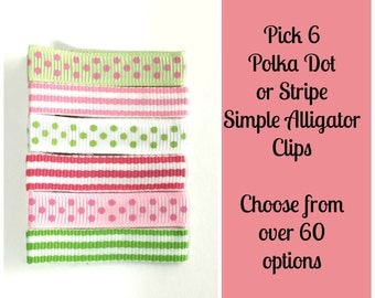 Baby Hair Clip- Simple Hair Clip- Pick 6 clips- You Choose from over 60 Stripe or Polka Dot Hair Clips - Baby, Toddler, Girls