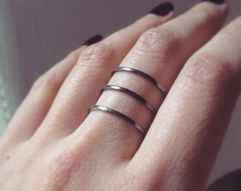 Double parallel ring silver Triple parallel ring sterling silver ring