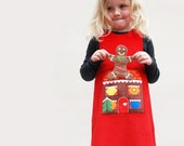 girls red dress- gingerbread man pocket pinafore story dress