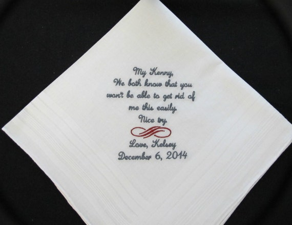 Embroidered Wedding Handkerchief for the Stepfather of the Bride