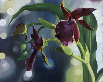 Purple Orchids- Canvas Print of Original Oil Painting- Beautiful Wall Art