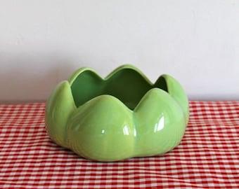 vintage ceramic bowl - GREEN LOTUS FLOWER dish
