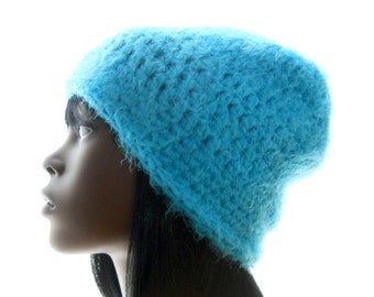 Women's Crochet Hat, Wool - Blend Hat, Turquoise Slouchy Hat, Small to Medium Size