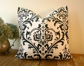 Damask Pillow Cover Black and White / 20x20 / Premier Prints Traditions Black/White