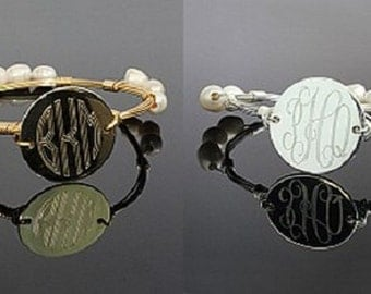 Wire-wrapped monogram pearl bangle