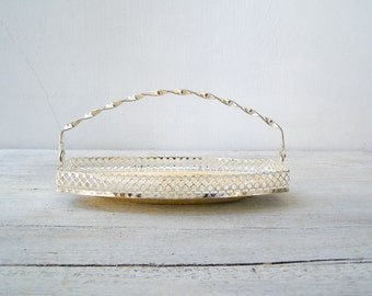 Mid Century Oval Candy Bowl with Handle, Vintage Serving Filigree Fluted Dish, Newlywed Wedding Gift, Metal Basket Wedding Table Centerpiece