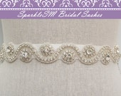 Beaded Bridal Sash, Bridal Belt, Bridal Belt, Rhinestone Bridal Dress Sash, SparkleSM Bridal Sash, Bridal Dress Sash, Jeweled Sash, Marylin