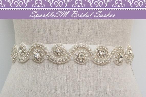 Beaded Bridal Sash, Bridal Belt, Bridal Belt, Rhinestone Bridal Dress Sash, SparkleSM Bridal Sash, Bridal Dress Sash, Jeweled Sash, Marylin