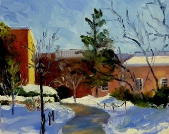 Original Winter Landscape Oil Painting Path in Town