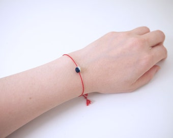 Dainty Ai Japanese Style Fabric Covered Bead With Silk Cord Friendship Bracelet