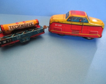 Technofix No.297 Automatic Loader Train Engine and Car, 1950's Vintage, Tin Litho Wind-up Mid-Century Toy, Clockwork Toy