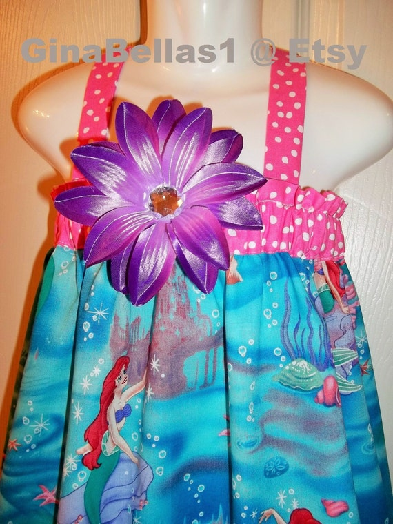 Ariel dress Disney Princess Birthday Party mermaid outfit pink purple crystal flower bow 3 6 9 12 18 months 2t 3t 4t 5 6 7 8 10 12