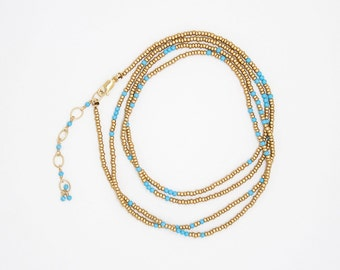 B918 - turquoise and gold wrap bracelet/necklace