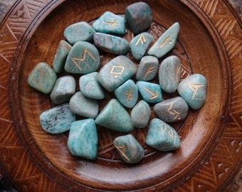 AMAZONITE Rune Set Divination or Jewelry Making Crafts
