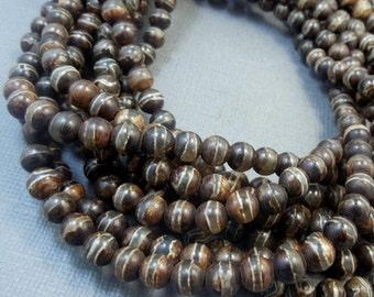Agate Beads-- 6mm Brown Tibetan Agate Round Beads - 1 STRAND  (S37B1b-03)