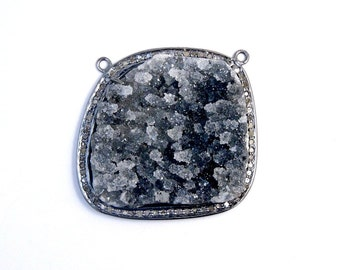 Black Druzy Cabochon Double Bail Pendant set in an Oxidized Sterling Silver and Pave DIAMOND Bezel (EX13-02)