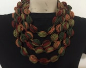 Puff Stitch Bubble Scarf Necklace, Bubble Scarf Necklace, Usa SELLER
