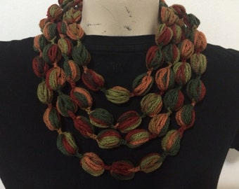 Puff Stitch Bubble Scarf Necklace, Bubble Scarf Necklace