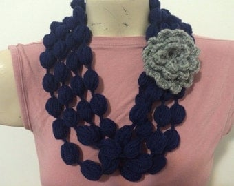 Bubble Loop Scarf Necklace in soft Navy With Gray Flower, Crochet Scarf Necklace