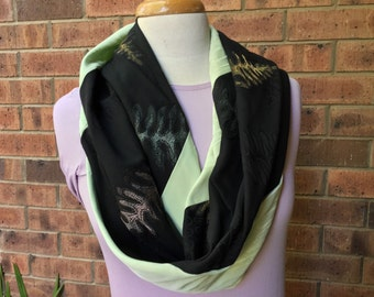 Silk infinity scarf, green and black