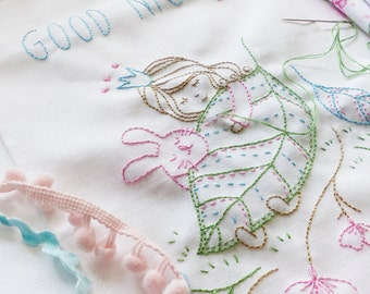 Digital embroidery designs, Digital artwork - Good Night - Embroidery pattern, Digital nursery art, Digital templates, baby girl embroidery