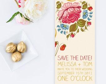DIY Printable Floral Folk Art Style Wedding Save the Date