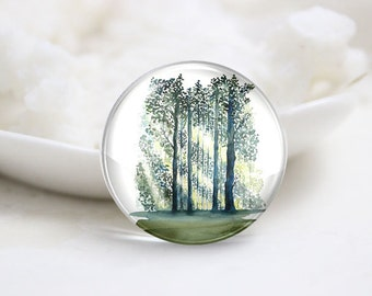 10mm 12mm 14mm 16mm 18mm 20mm 25mm 30mm Handmade Round Photo Glass Cabochons Cover-Tree (P1304)