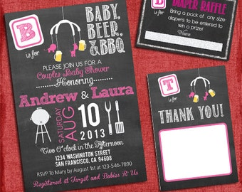 Printable BBQ and Beer Couples Baby Girl Shower Chalkboard Set -Invite + Diaper Raffle Ticket + Thank You Card   - I design you print