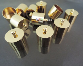 4pcs Gold End Caps 13mm - Findings Gold Plated Very Large Leather Cord Ends Cap with Loop 16mm x 14mm