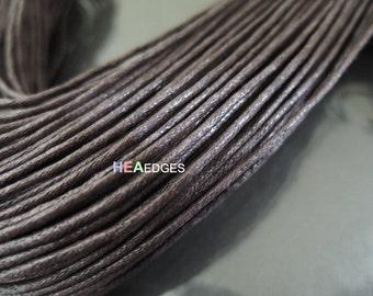 Cotton Wax Cord 2 Yards 1.5mm - Dark Brown Round Round Cotton Wax Cords