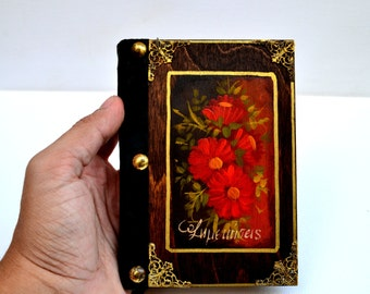 Floral journal, floral notebook, flower journal, valentine's day journal, painted red roses, blank notebook, handmade journal, lovers' gift