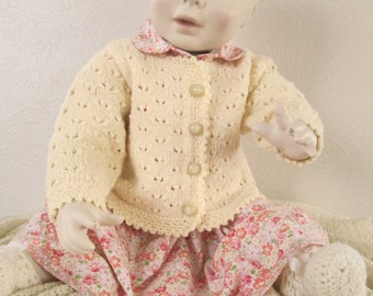 Hand Knit Baby Girl Sweater Cardie Eyelet Lace 6M 12M Wool Handmade Crochet Trim
