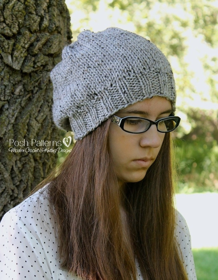 Beginner Hat Knitting Patterns : Knitting PATTERN Slouchy Hat Knitting Patterns Knitting