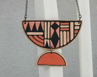 Statement Necklace Coral  Wooden  Necklace  Geometric Necklace