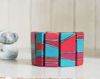 Statement Bracelet Wooden Bangle Colorful Wood Bracelet Geometric jewelry
