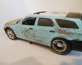Scale Model Rat Rod Chrysler Magnum Blue with Rust from Classicwrecks