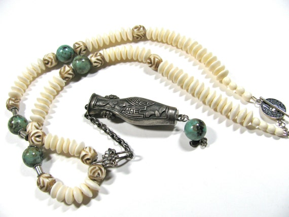 Antique Chinese needle case necklace-Turquoise-carved bone-sterling findings-beaded necklace-gemstones 150