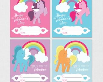 Unicorn Valentines, Unicorn Rainbow Valentines, Pony Valentines, Kids  Valentines, Printable Valentines,