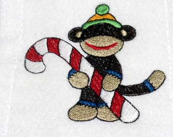Embroidery Sock Monkey Candy Cane Christmas Burp Cloth