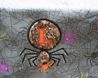 Personlized spider Halloween Embroidered Monogrammed Hand Towel