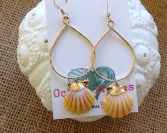 Gold dipped sunrise shell earrings